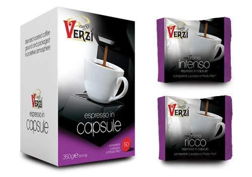 Verzi caffè 100 kapsułek Aroma Ricco jest kompatybilny z ekspresami do kawy firmy Lavazza, aby uzyskać pełną kawę z grubym i trwałym kremem.