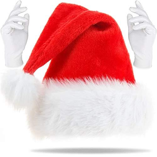 Weihnachts Set | Weihnachtsmütze + Weisse Handschuhe | Nikolaus Weihnachtsmann Mütze | Plüsch Rand Rot Fellrand aus Plüsch kuschelweich & angenehm (Weihnachtsmann Mütze)