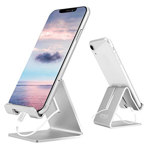 Soporte para Móviles - Urmust Soporte Sólido de Aluminio para Escritorio Universal Portátil Compatible con Todos los Móviles Inteligentes Huawei iPhone X 8 7 6 Plus 5 iPad Mini Tableta Decoración de Oficina (Plata)