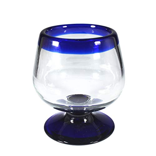 Brandy - Juego de 4 copas de cristal con borde azul