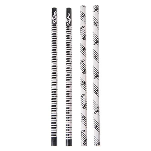 WuLi77 - Juego de 4 bolígrafos con diseño de notas musicales, lápiz HB para papelería y escuela