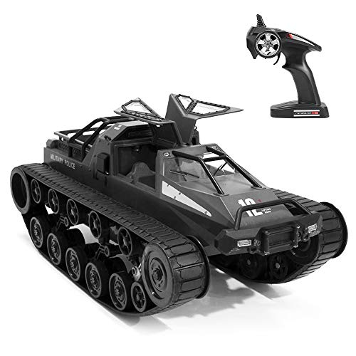 GoolRC RC Tank Car, 1/12 Scale 2.4GHz Remote Control Rechargeable Tank for Kids, 360° Rotating Vehicle Gifts for Boys Girls Teens (Black)