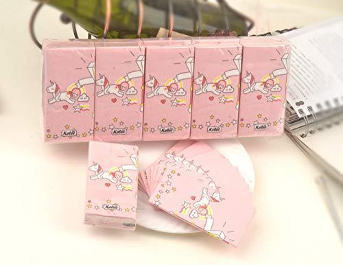 EPRHAY 100 Stück Einhorn Taschentücher Papier 3 Schichten rosa Servietten Mini-Tasche Papier...
