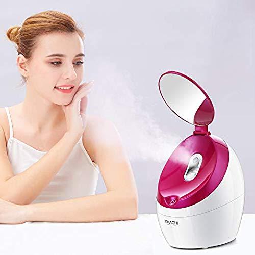 Argus Le Nano Ionen Gesichtsdampfer mit Kosmetikspiegel Professional Gesichtssauna für Home-Spa Gesicht Hautpflege Porenreiniger Akne Mitmesser Luftbefeuchter Tragbar – Rosa