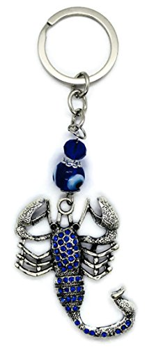 Bravo Team Lucky Scorpio w/Blue Crystals & Evil Eye Hanging Keychain Ring - Sign of Protection & Blessing - Home Keys, Purse & Bags Decorative Things & Accessories - Car Ornaments for Rear View Mirror