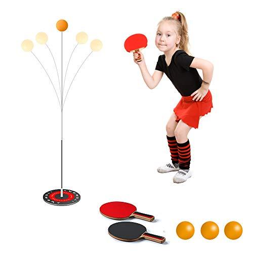 TAOPE Juego de tenis de mesa con 2 ejes elásticos blandos para ocio y deportes de descompresión para principiantes y niños, uso en interiores o exteriores, juego de bates de tenis de mesa