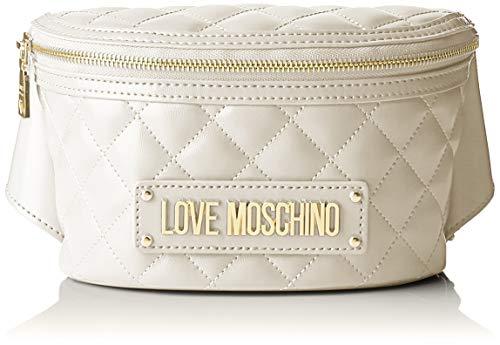 Love Moschino Borsa Quilted Nappa PU, Bolsa de mensajero para Mujer, Marfil (Avorio), 7x13x22 centimeters (W x H x L)