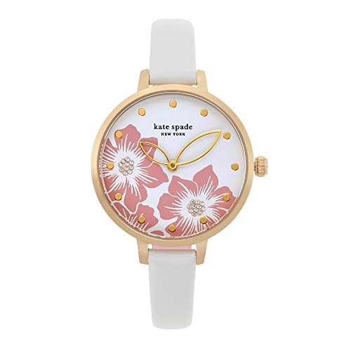 kate spade new york Women's Metro Stainless Steel Quartz Watch with Leather Strap, White, 9.8 (Model: KSW1511)