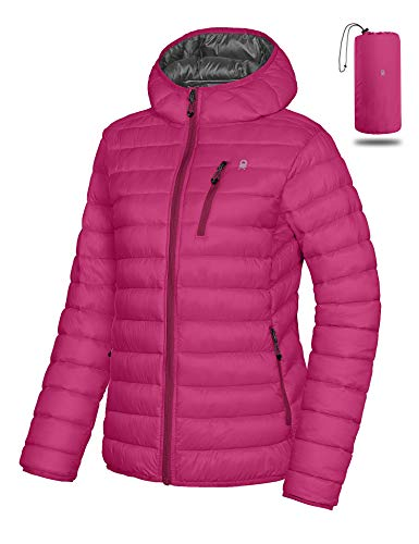Little Donkey Andy Women's Packable Lightweight Puffer Jacket Hooded Windproof Winter Coat with Recycled Insulation Rose S
