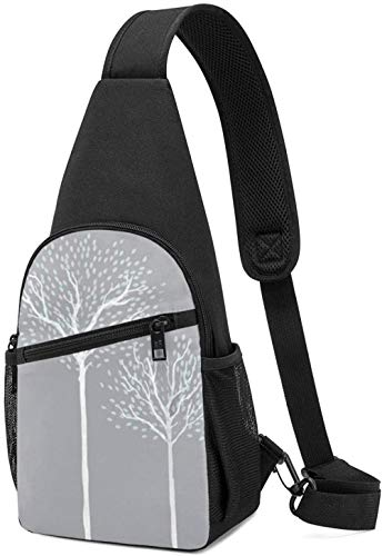 HUIQ Bag Tree Grey Gym Shoulder Bags Crossbody Bag Lightweight Outdoor Sport Casual Daypack for Men Women