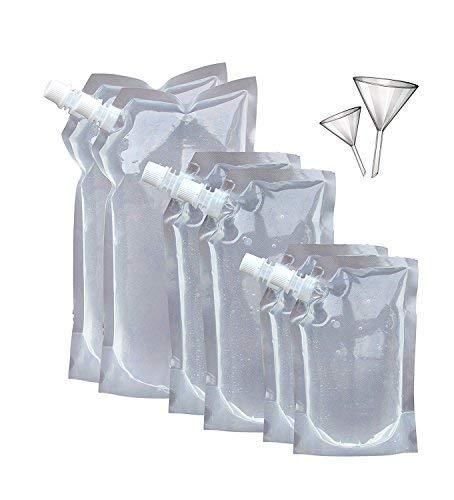 Concealable And Reusable Cruise Hidden bag Kit - Secret Flasks Cruise Liquor Bag Kit SIX (6) Durable Reusable Flasks With 2 Funnels