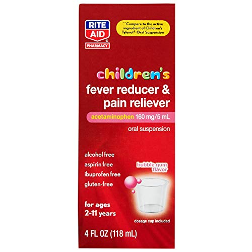 Rite Aid Children's Fever Reducer and Pain Reliever, Bubble Gum, 160 mg/5 mL - 4 fl oz