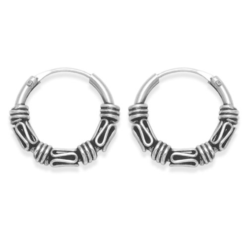 Sterling Silver Small Bali Hoop earrings, 7 x twist wires - Size - Small: 13mm diameter 6205