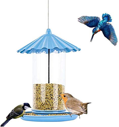 AXAA Outdoor Bird Feeder, Metal Hanging Easy To Fill Wild Bird Foraging Station Perch Suitable for Garden Park-Blue