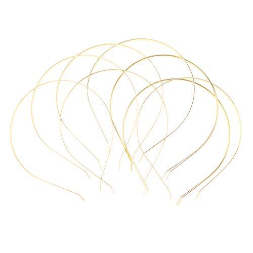 Fenteer 10 teilig Metall Haarreifen Haarband Stirnband Kopfband Keine Zähne DIY Haarschmuck für Mädchen und Damen - Gold