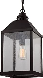 Feiss F2959/1ORB Lumiere Glass Pendant Lighting, Bronze, 1-Light (10