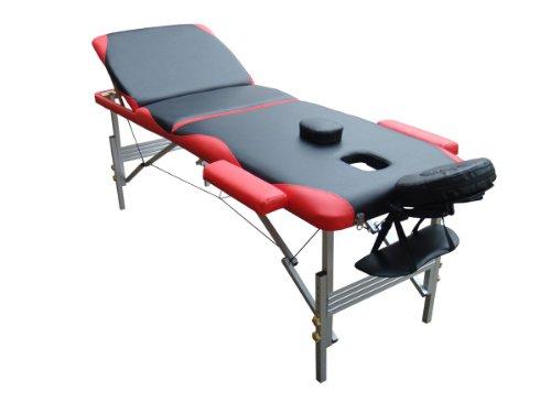 Melko Massageliege Profi 3 Zonen aus Aluminium, klappbar und höhenverstellbar, Schwarz/Rot - inkl. Schutzhülle