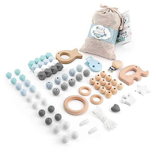 RUBY - Cuentas de silicona para chupeteros, mordedores y collar lactancia 70 piezas de silicona y madera. Kit cesta de regalo para recién nacido (Azul Pastel).