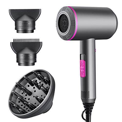 Price comparison product image 2000 Watt Pro Infrared Technology Hair Dryer by Beaucares - Protects,  Adds Shine,  and Blow Dries Hair for Salon Quality Results - Gun Metal Grey