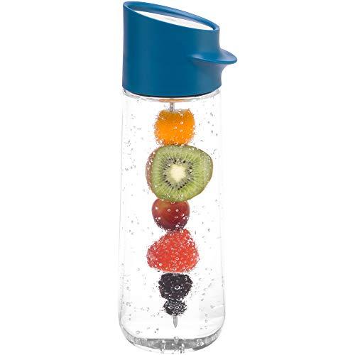 WMF Nuro Wasserkaraffe 1,0l, mit Fruchtspieß, Höhe 29,7 cm, Glas-Karaffe, CloseUp-Verschluss, blau