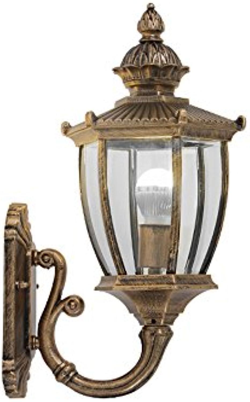 Modeen Continental Antique Victoria Glas Laterne Wandleuchte Vintage Aluminium Bronze E27 Dekoration Im Freien Wasserdichte Wandleuchte LED Hof Gang Korridor Post Wandleuchte (Farbe   Bronze)
