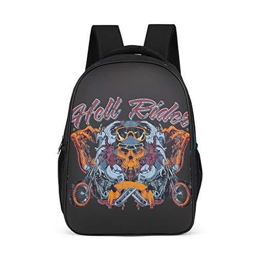 BTJC88 Skull Daypack Skull Rider Daypack Vintage Backpack Boys Large Biker School Bag for Women Business Backpack Laptop Grey Grey One Size
