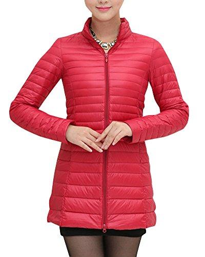 Damen Große Größen Mittellange Daunenjacke Leichte Verpackbare Bepackbare Steppjacke Rot M