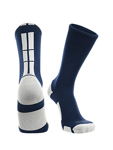 TCK Baseline 3.0 Athletic Crew Socks (Navy/White, Medium)