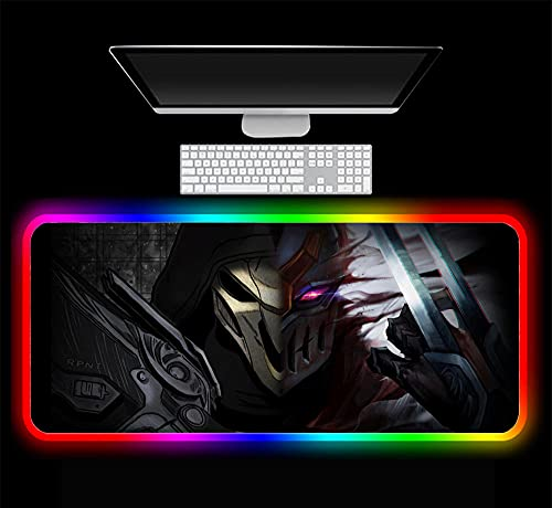 Overwatch Reaper Zed RGB Mouse Pad Gaming Computer Keyboard Accessories LED PC Computer Notebook Home Office USB Mat,C 700x300x4 mm
