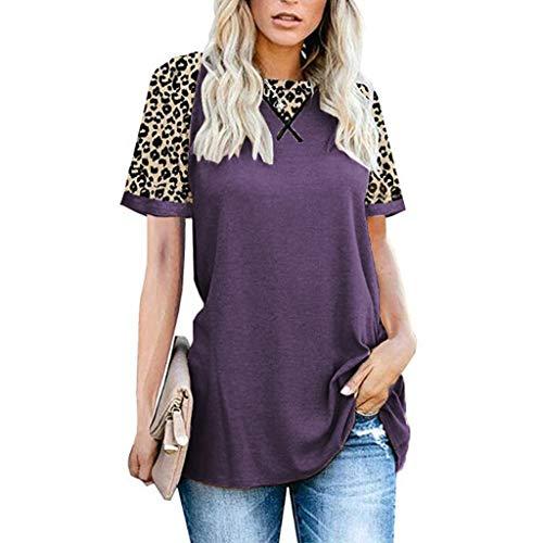 YYH Dames T-shirt Luipaard Print Tops Korte Mouw Crew Neck T Shirt Basic Casual korte mouw Shirt 3XL Paars