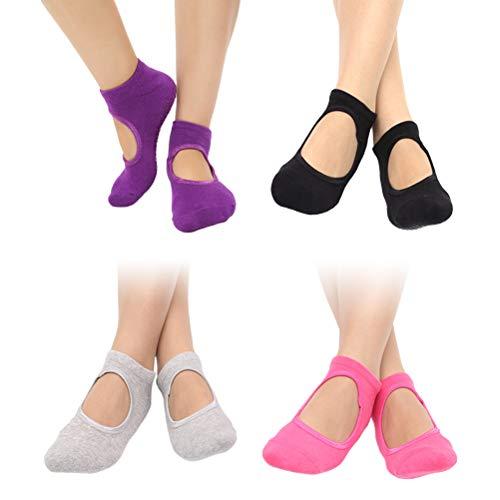 ABOOFAN 4 pares de calcetines de yoga antideslizantes para mujer (negro/gris/rosa/morado oscuro)