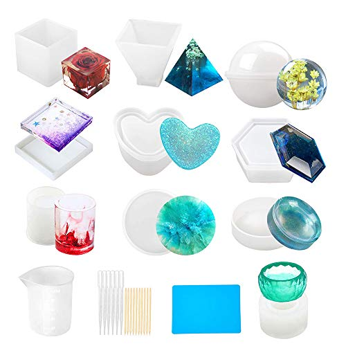 25PCS Silicone Resin Molds, Ashtray Molds Complete Mold Set Storage Box Epoxy Resin Mold, Tray Mold Hexagon Heart Sphere Cube Pyramid Round Silicone Sticks Measuring Cup Mat Mold