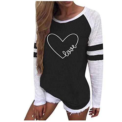 Damen Sweatshirt Mode Casual Druckstreifen Rundhalsausschnitt Langarm Loose Top Bluse