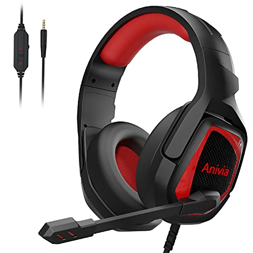 Stereo Over-Ear Gaming Headset with Microphone for PC PS4 PS5 - MH602X Noise-isolating Surround Sound Gaming Headphones Compatible with Xbox One PSP Switch Phones Tablet Black Red