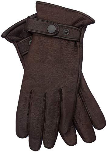 EEM Herren Leder Handschuhe PATRICK aus echtem Hirschleder mit Kaschmir-Woll Futter; braun, M