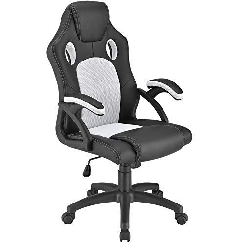 ArtLife Racing Schreibtischstuhl Montreal weiß   Armlehnen gepolstert & ergonomische Rückenlehne   Bürostuhl Drehstuhl Gaming-Stuhl