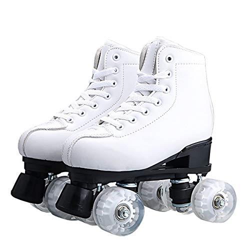 CKCL Rookie-Rollschuhe Rollschuhe Für Frauen Herren High-top-pu-Leder-Rollschuhe Vierräder Rollschuhe Derby-Skates Weiß Schwarz Rollschuhe Für Mädchen Jungen Anfänger Erwachsene,40 Size
