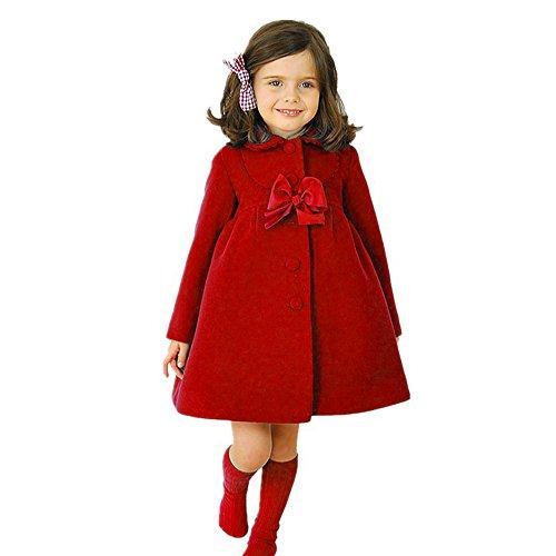 Goosuny Kinder Mädchen Herbst Winter Mantel Jacke Dicke Warme Kleidung Cloak Jacket Overcoat Mit Niedlich Bowknot Loose Windbreaker Parka Trenchcoat Langes Freizeitjacke(Rot,140)