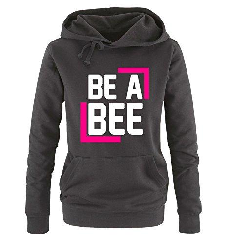 Comedy Shirts - BE A BEE - Damen Hoodie - Schwarz / Weiss-Pink Gr. S