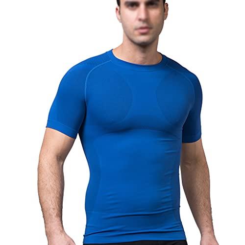 KKXY Camisa de compresión para Hombre Camisa de Compresión para Hombre Tejido de Costilla Cintura Corsé para Correr Gym Basketball Muscle Bodybuilding Camiseta(Size:Metro,Color:Azul)