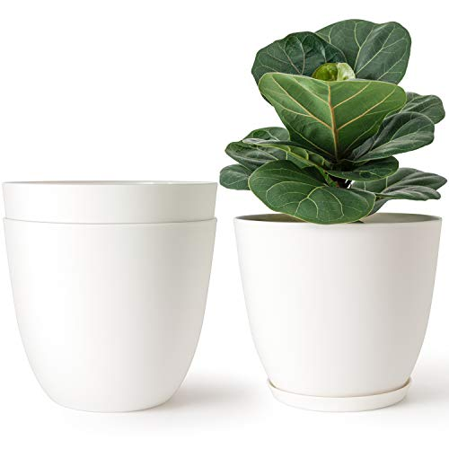 Mkono 7.5 Inch Plastic Planters Indoor Set of 3 Flower Plant Pots Modern Decorative Garden Pot with Drainage and Tray for All House Plants, Flowers, Herbs, Foliage Plant, and Seed Nursery, Cream White
