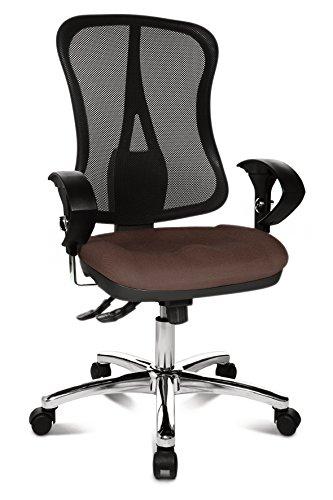Topstar Head Point SY Deluxe, ergonomischer Bürostuhl, Schreibtischstuhl, inkl. Armlehnen, Stoff, dunkelbraun/schwarz