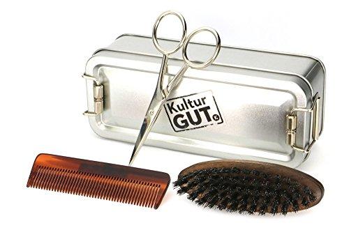 Herren Geschenk: Bartpflege Set mit Bartschere mit handgesägtem Bartkamm und Bart Bürste aus Nussbaum Holz in Klappbox
