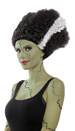 Party King Women's Monster Bride Costume Wig, Black/White, One Size