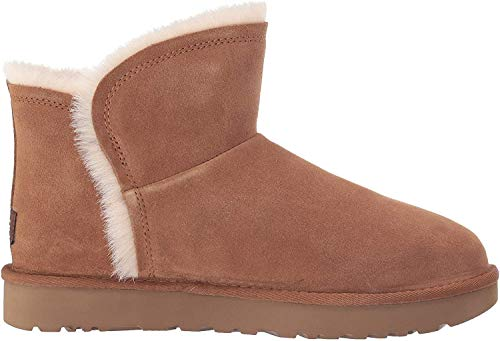 UGG Women's Classic Mini Fluff HIGH-Low Fashion Boot, Chestnut, 8 M US