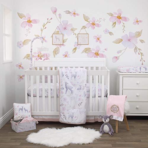 NoJo Watercolor Deer 4 Piece Nursery Crib Bedding Set, Pink/Grey/White/Blue