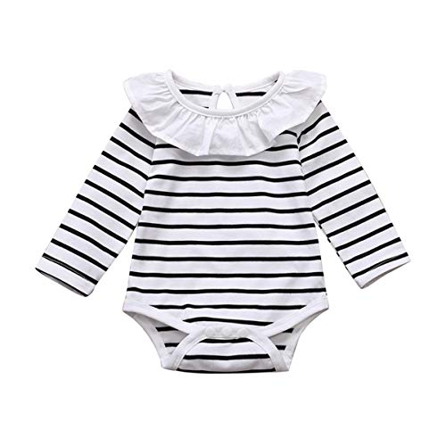 DaMohony Conjunto de ropa de bebé para niña, conjunto de ropa de manga larga a rayas mameluco de tirantes falda diadema 3 piezas para niña, rosso, 1 mes