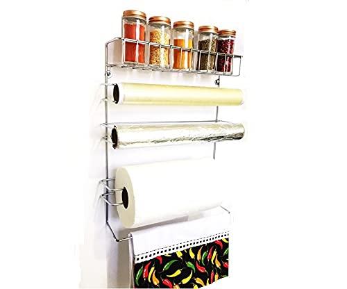 Conjunto Porta Papel Toalha 5 em 1 Cromado com 5 Potes para Tempero Vidro Tampa Rosê Gold