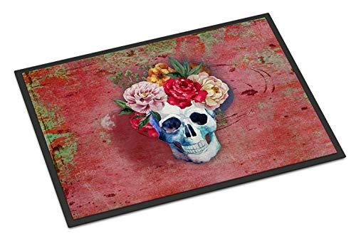 Caroline Tesoros bb5130jmat del día de los Muertos Rojo Flores Calavera Felpudo, Multicolor, 24cm H x 91cm W