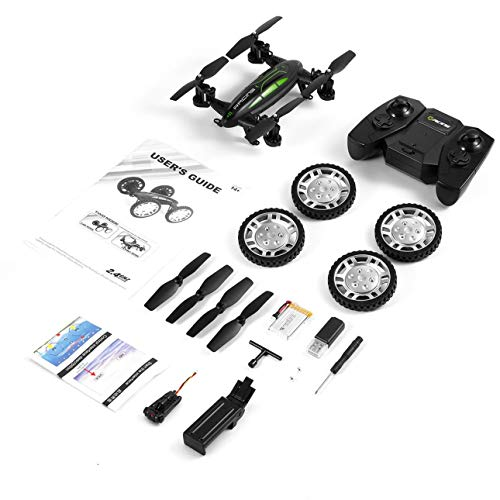 urjipstore Air-Road Double Model Flying Car with Hd Camera 2.4G Rc Quadcopter Drone 6-Axis 4Ch Helicopter Run Double Sides